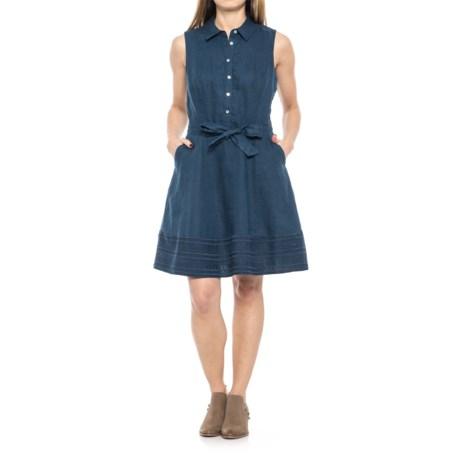 Tahari Fit & Flare Linen Shirt Dress - Sleeveless (For Women)