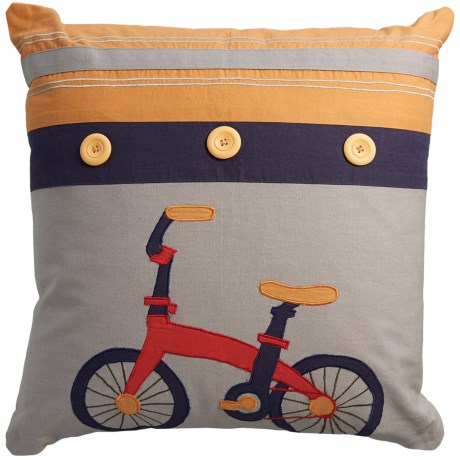 """Rizzy Home Bicycle Decor Pillow - 18x18"""""""