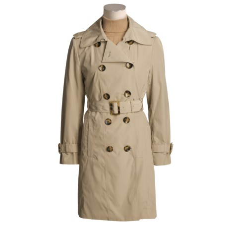 London Fog Faux-Silk Trench Coat - Plus Size, Zip-Out Liner (For Women)
