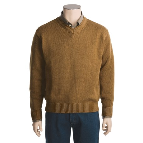 Viyella Cotton-Lambswool Sweater - V-Neck (For Men)