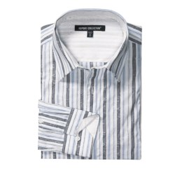 Report Collection Cotton Jacquard Stripe Sport Shirt - Long Sleeve (For Men)