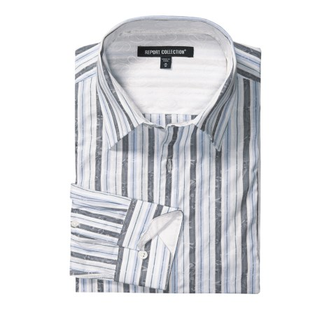 Report Collection Cotton Jacquard Stripe Sport Shirt - Long Sleeve (For Men)