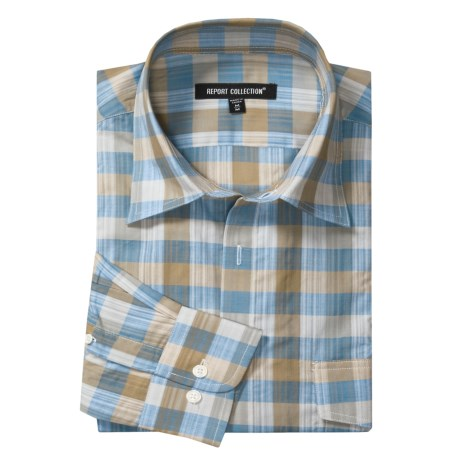 Report Collection Plaid Sport Shirt - Roll-Up Sleeve (For Men)