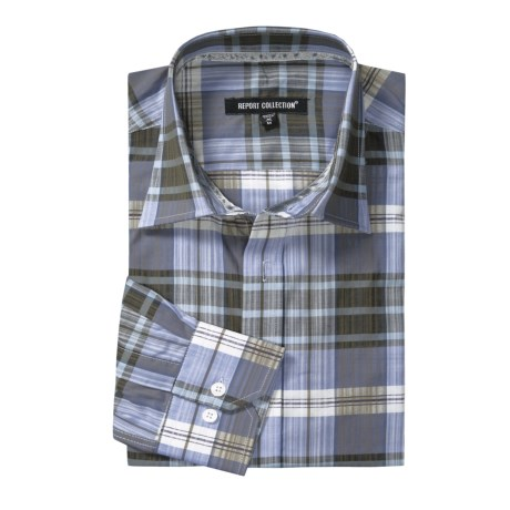 Report Collection Plaid Sport Shirt - Cotton, Long Sleeve (For Men)