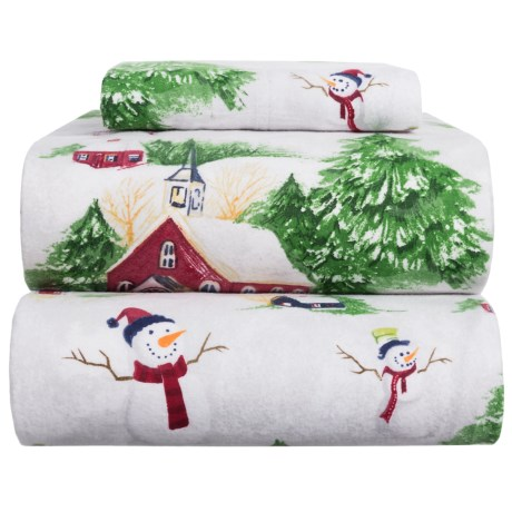 Azores Flannel Printed Snowman Sheet Set - Twin