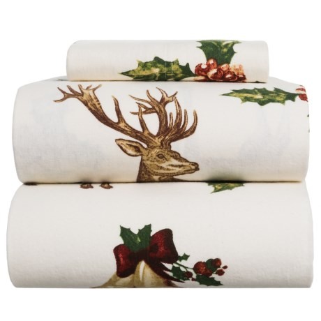Azores Deer Flannel Sheet Set - Twin