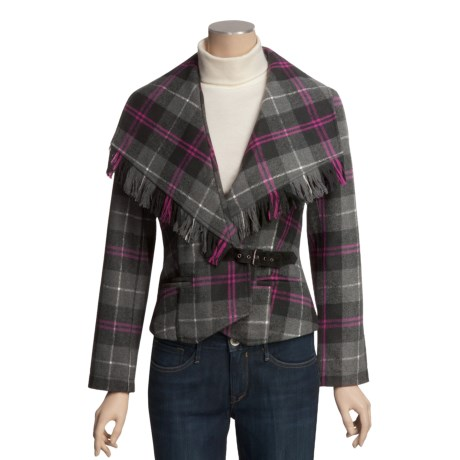 POP Fringed Plaid Jacket (For Women)