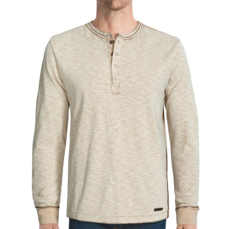 Jeremiah Mercer Henley Shirt - Two-Tone Cotton Jersey Slub, Long Sleeve (For Men)