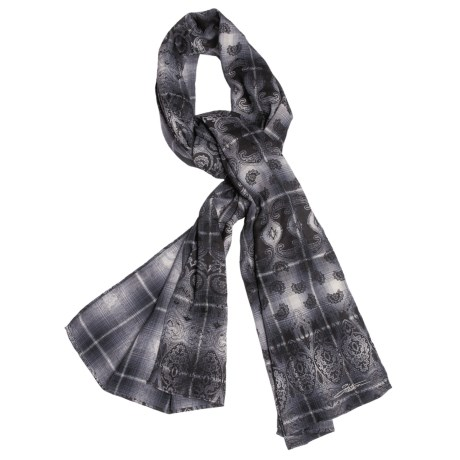 Stetson Overprinted Plaid Scarf - Cotton (For Women)