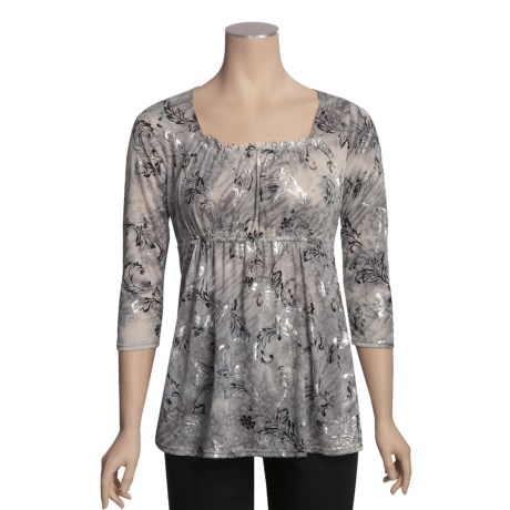 Roper Metallic Burnout Shirt - 3/4 Sleeve (For Women)