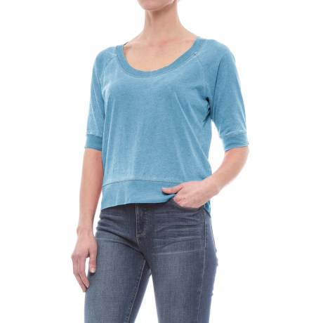Specially made Vintage Wash Knit Shirt - Scoop Neck, Short Sleeve (For Women)
