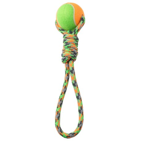 PetRageous FiestaRope Twisted Tug Rope with Jumbo Tennis Ball
