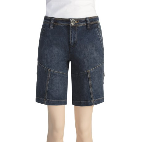 Ethyl Button-Up Denim Shorts (For Women)