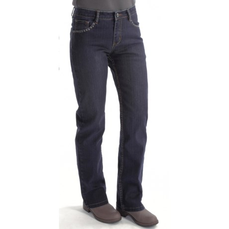 Zenim Bootcut Jeans - Studded Pockets, Dark Wash (For Women)