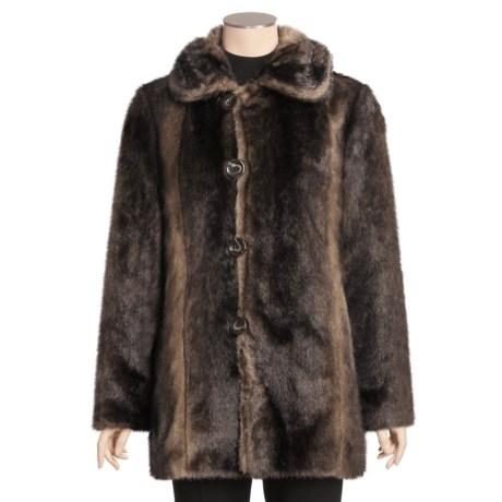 Ellen Tracy Outerwear Faux-Fur Rain Coat - Reversible (For Women)