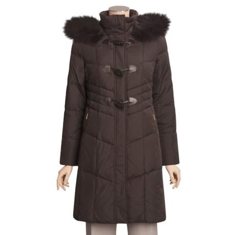 Ellen Tracy Outerwear Down Walker Coat - Hooded Fox-Fur Collar (For Petite Women)