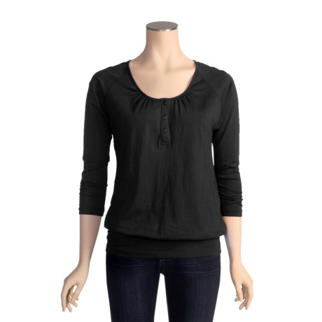 Lilla P Pima Jersey Blouson Henley Shirt - Pima Cotton, 3/4 Sleeve (For Women)