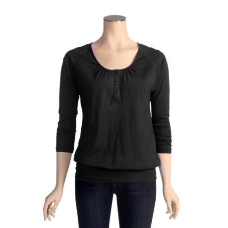 Lilla P Pima Jersey Blouson Henley Shirt - Pima Cotton, 3/4 Sleeve (For Women)