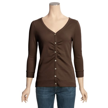 Lilla P Classic V-Neck Cardigan Sweater - 3/4 Sleeve (For Women)