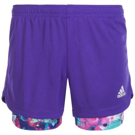 adidas Marathon 2-in-1 Shorts - Built-In Shorts (For Big Girls)