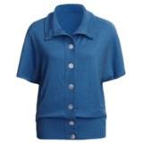 Lilla P Oversized Cardigan Sweater - Cotton-Cashmere, Short Dolman Sleeve (For Women)