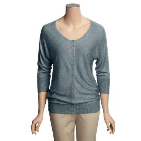 Lilla P Snap-Front Cardigan Sweater - 3/4 Dolman Sleeve (For Women)