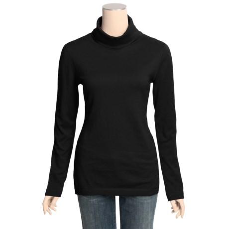 Lilla P Essentials Turtleneck - Cotton-Cashmere, Back Seam Detail, Long Sleeve (For Women)