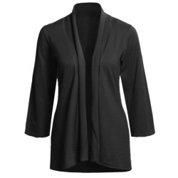 Lilla P Essentials Cardigan Sweater - Cotton-Cashmere, Open Front, 3/4 Sleeve (For Women)