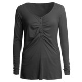 Lilla P Whisper Weight Henley Shirt - Pima Cotton, Long Sleeve (For Women)