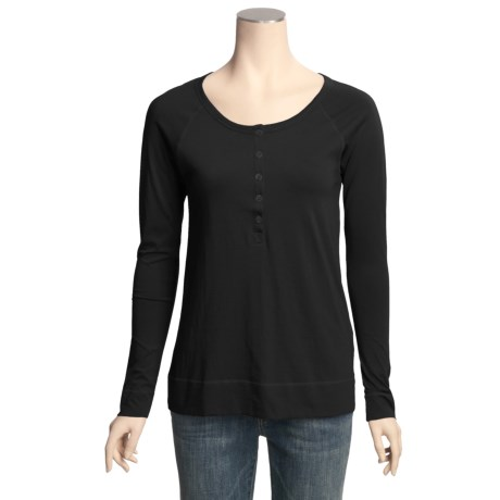 Lilla P Basics Henley Shirt - Pima Cotton, Long Raglan Sleeve (For Women)