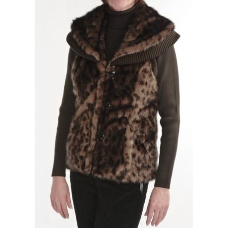 MontanaCo Faux-Fur Vest - Knit Trim (For Women)