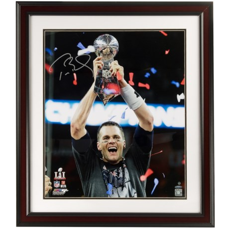Steiner Sports Tom Brady Signed Framed Photo - Championship Trophy