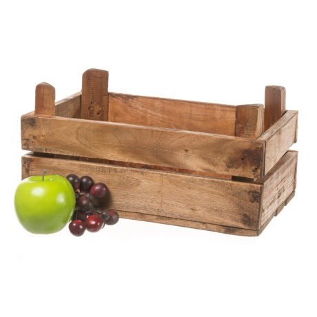 """UMA Small Stackable Wood Storage Crate - 13"""""""