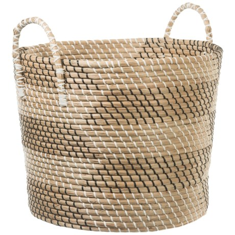 UMA Large Seagrass Print Basket with Handles - 19""