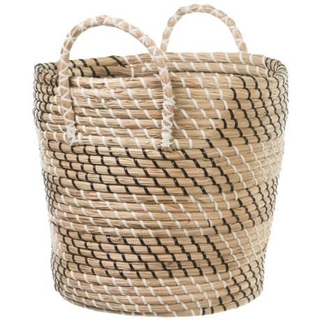 "UMA Small Seagrass Print Basket with Handles - 14"""