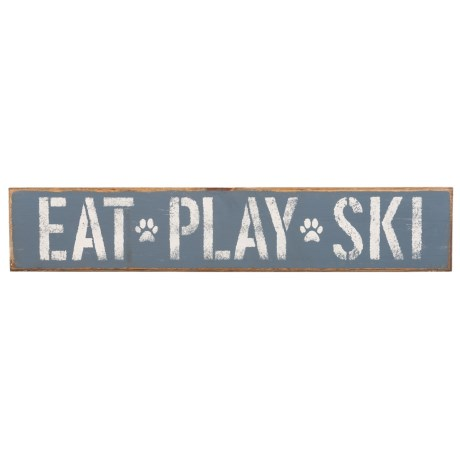 Seven Anchor Designs Eat, Play, Ski Wooden Sign - 6x30""