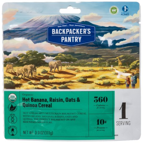 Backpacker's Pantry Organic Banana, Raisin Oats and Quinoa Breakfast Cereal - 1 Serving