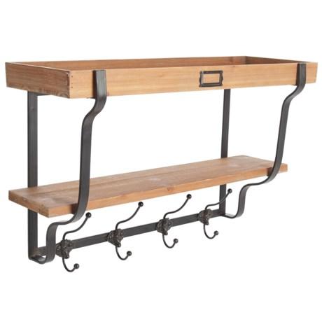 "UMA Wood and Metal Coat Hook Shelf - 26x17"""