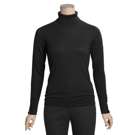 Kinross Worsted Cashmere Turtleneck Sweater - Button Cuffs (For Women)
