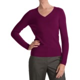 Forte Cashmere Ribbed V-Neck Sweater- Cashmere (For Women)