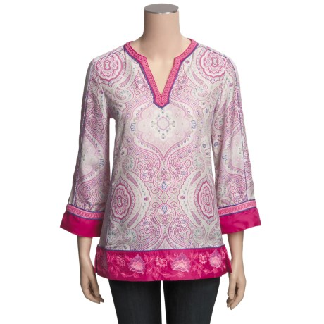 Robert Graham Joy Silk Tunic Shirt - V-Neck, Long Sleeve (For Women)