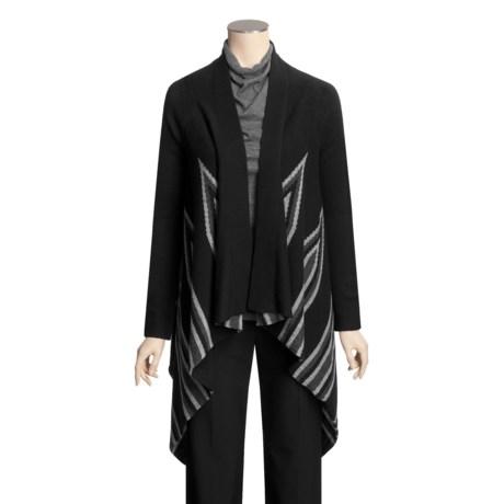 Kinross Cashmere Kinross Intarsia Insert Stripe Wrap Sweater - Cashmere (For Women)