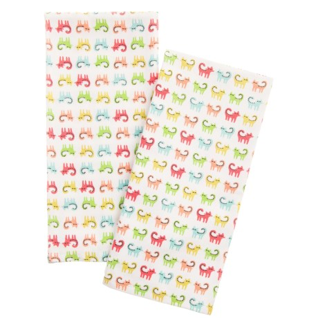 EnVogue Colorful Cats Printed Kitchen Towels - Set of 2