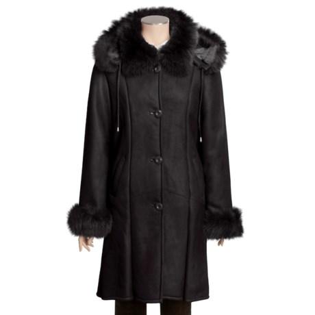 Tibor Leather Brushed Lambskin Coat - Fox Fur Trim (For Women)
