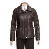 Tibor Leather New Zealand Lamb Jacket - Plus Size, Side Tie Detail (For Women)