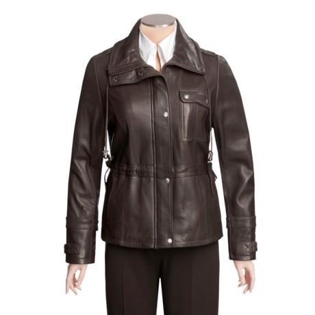 Tibor Leather New Zealand Lamb Jacket - Plus Size, Side Tie Detail (For Women)