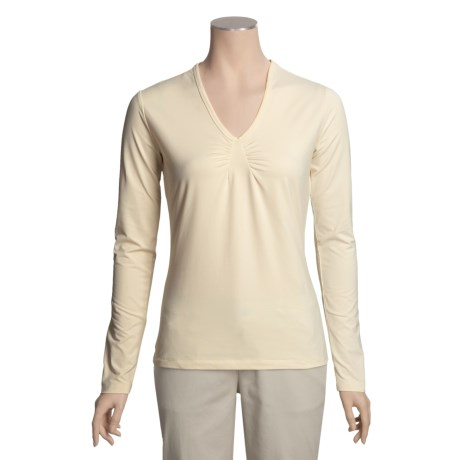 Isis Deep Vee Stretch Shirt - Gathered Front, Long Sleeve (For Women)