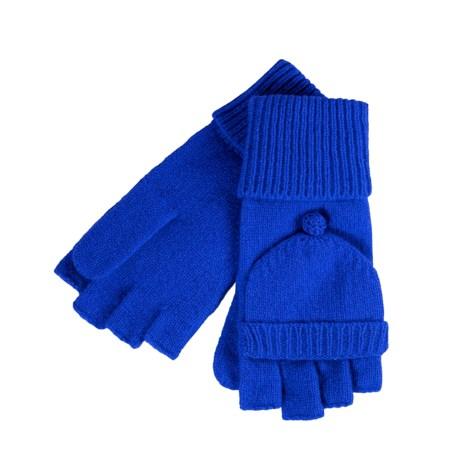 Carolina Amato Classic Pop Top Mitten Gloves - Lambswool-Angora (For Women)
