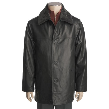 Tibor Leather Lambskin Car Coat - Removable Mouton Fur Collar and Quilted Liner (For Men)