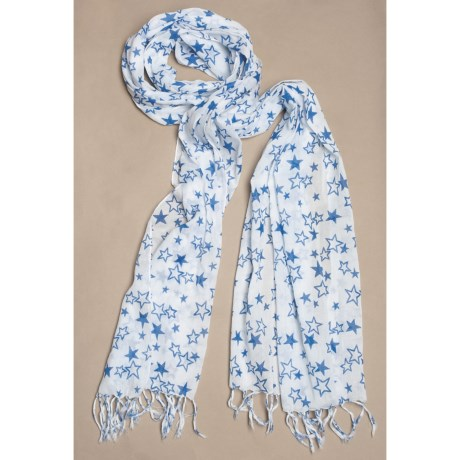 La Fiorentina Cotton Star Print Scarf (For Women)